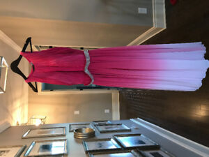 Pink ombré dress with rhinestone belt