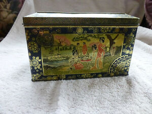 vintage  tin with Japanese design