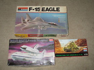 Vintage Lot of 3 Model Kits--all parts are there are no Decals
