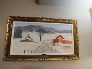 Original Large Oil On Canvas Called -THE RED BARN- Signed