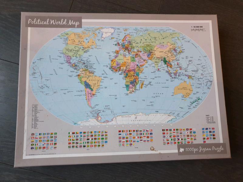 1000 piece jigsaw Puzzle Political World Map | in Bradford, West Yorkshire  | Gumtree