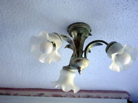 BEDROOM LIGHT FITTING COMPLETE WITH 3 GLASS SHADES AND BULBS