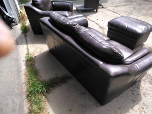 Leather couch ( love seat chair and ottoman)