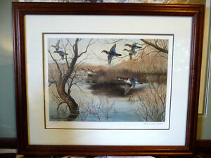 "Hand Signed and Numbered, Maynard Reece ""Wood Ducks"" Lithograph"