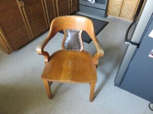 3 matching antique vintage oak arm chairs
