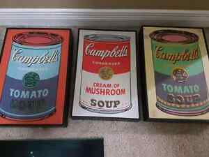 Campbell's soup prints in frames $60  Kitchener / Waterloo Kitchener Area image 1