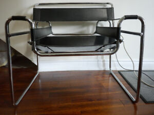 Vintage Wassily Style Lounge Chair Black Leather