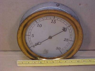 Vtg Large 10 Ashcroft C 1920 Brass Steam Pressure Gauge 0-30 Psi Steampunk Work