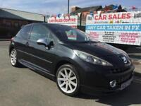 PEUGEOT 207 GTI 1.6 THP 175 3DR BLACK **LOW 77,093 MILES **RACING BUCKET SEATS
