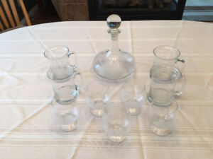 Etched Glass Decanter & Glasses