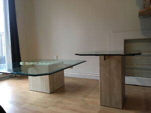 Glass top coffee tables / marble base