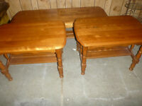 Maple Coffee Table and Two End Tables