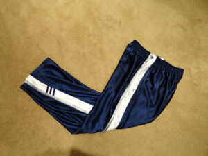 Adidas Blue Tearaway Pants Snaps Athletic Basketball Vintage 90s
