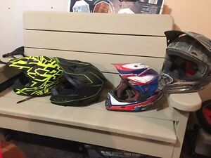 3 mx helmets and one snowmobile all size medium