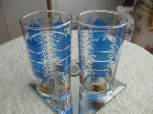 TWO MATCHING FANCY GLASS WATER / TUMBLERS