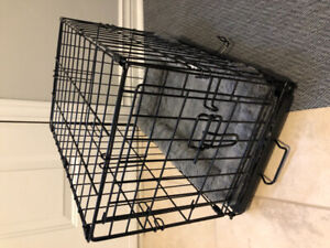 Small dog crate, jacket, pj's and collar