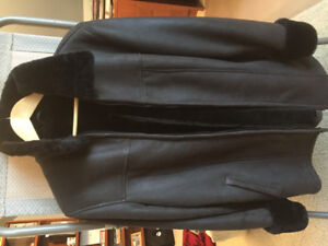 Ladies leather shearling lined coat - never worn
