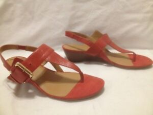 Nine West Red Leather Classic Wedge Thon Sandal 7M