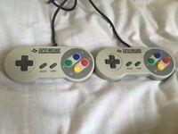 Original Super Nintendo Controller X 2 (SNES) Official. Tested
