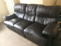 Recliner Brown Leather Sofa £60 ono