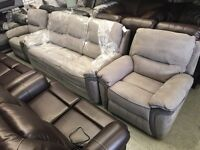 Ex high street designer soft suede grey 3 piece suite electric power recliner three seater sofa