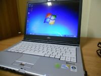 SALE FUJITSU Core 2 duo 5.0 GHZ laptop 4GB Ram 160GB hard drive webcam dvd wifi like new