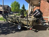 18ft fishing hunting boat w 90hp motor w trailer + extras