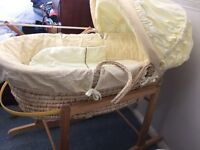 Yellow Moses basket excellent condition with stand