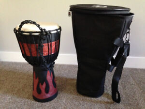 Hand Carved Wood Djembe Drum and Bag
