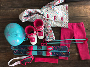 American girl doll slopes outfit with snowboard and helmet set .