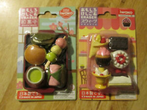 IWAKO Japanese Pencil ERASER Set Food Dessert Sweets Japan Toy