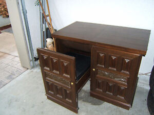 Teak Sewing Cabinet with Nesting Chair