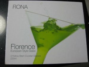 For Sale Brand New in Boxes Rona Cocktail Drinking Glasses 4 Per