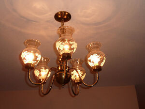 Matching 2 Chandeliers, 2 Wall Scones & 2 Ceiling Lights - Brass