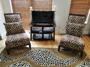 SIDE CHAIRS (2) WITH ZEBRA DESIGN,  (2) CHAISES HAUTE GAMME.