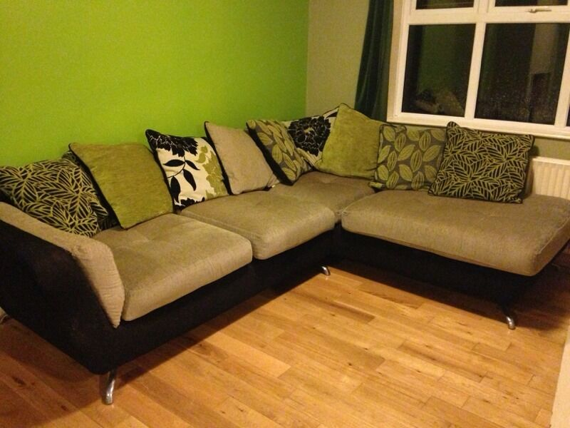 Corner Sofa Modern Black And Beige Inc Cushions In