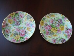 2 ASSIETTES  DE COLLECTION JAPON  EN PORCELAINE SPRING GARDEN