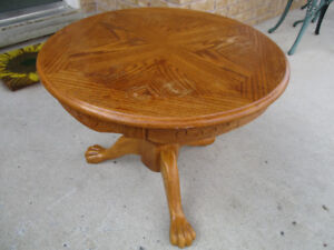 Antique Round Oak Claw Foot Side Table
