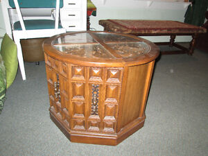 Glass topped end or coffee table, with storage