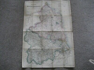 VINTAGE BACON'S MAP OF NORTHUMBERLAND JOHN DOWER UNDATED BUT APPEARS VICTORIAN