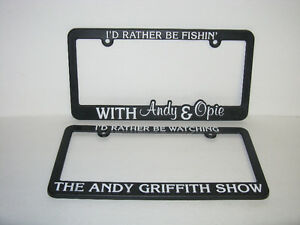 2 DIFFERENT LICENSE PLATE FRAMES THE ANDY GRIFFITH SHOW