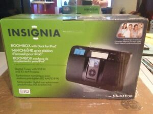 NEW Insignia NS-B3113B - Boombox with AM/FM Radio and iPod Dock