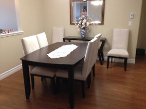 Solid Wood Canadel Boat Shaped Table and 6 Chairs