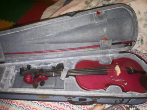 Violin with case and music stand