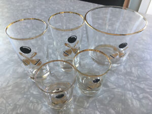 Libbey Glass Ice Bucket & 4 glasses - bowling theme