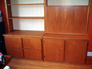 Large 4-Piece OAK Wall UNIT! Solid & Versatile! Much STORAGE!