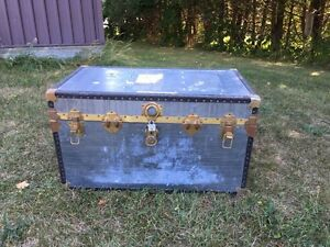 Antique zinc covered trunk