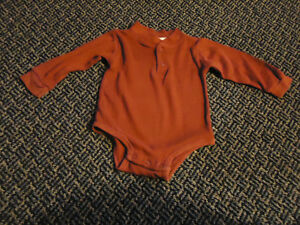 Boys Size 12 Months Long Sleeve Burgundy Onesie