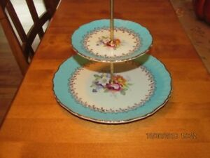 double tiered cake plate old foley
