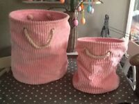 2x pink chunky cord storage bags, lovely condition.